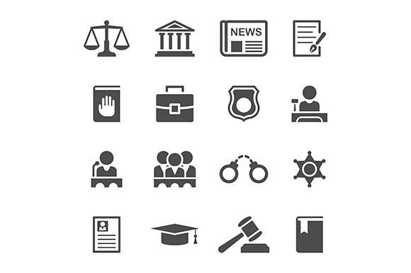 law and justice icons by Kurokstas on @creativemarket