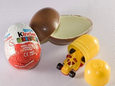 Kinder Überraschung--yay! The Belgian ones have the weirdest prizes.