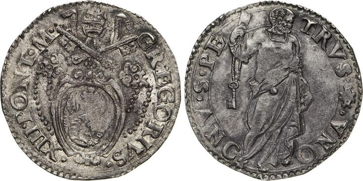 NumisBids: Numismatica Varesi s.a.s. Auction 65, Lot 759 : GREGORIO XIII (1572-1585) Testone s.d., Ancona. D/ Stemma R/ San...