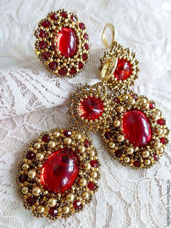 """Купить Комплект """"Искушение"""" - ярко-красный, красные серьги, длинные красные серьги, красные кристаллы"""