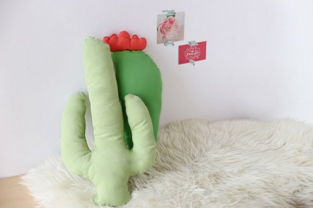 DIY Cactus Pillow: 17 DIY Pillows That Are Too Cool to Be a Square via Brit + Co