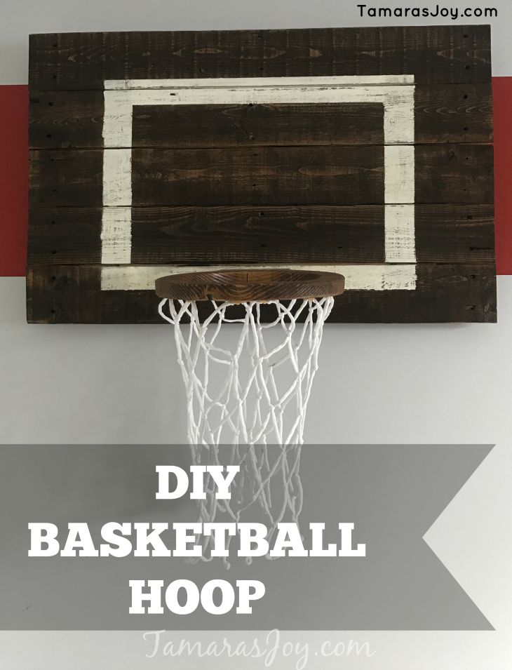 Build your own diy basketball hoop. It fits a nice sports decor AND is functional! This DIY Basketball hoop cost me $15 to build total.