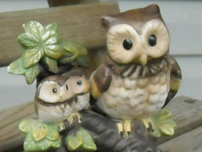 Vintage Hoot Owls Mama Baby Owls Porcelain by MyGrannysVintage, $16.00 USD