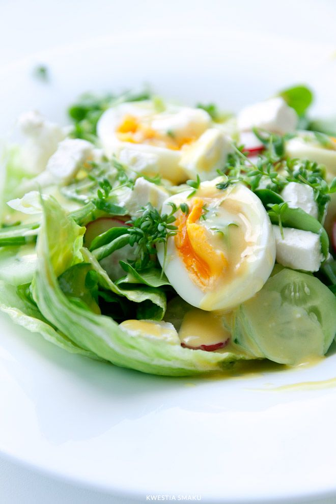{Salad with Feta cheese, Eggs and Watercress} Sałatka z jajkiem i fetą - Przepis
