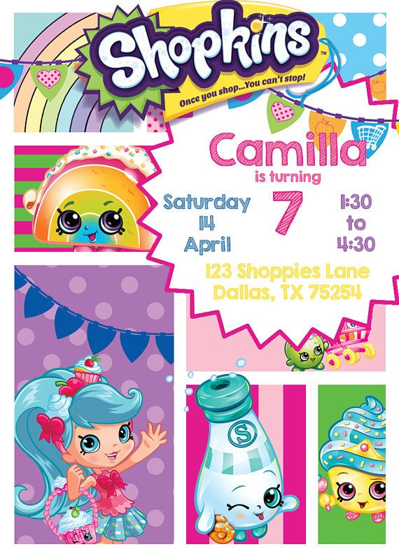 picture relating to Shopkins Birthday Card Printable titled Shoppies, Shopkins Birthday Invitation, Shopkins Birthday