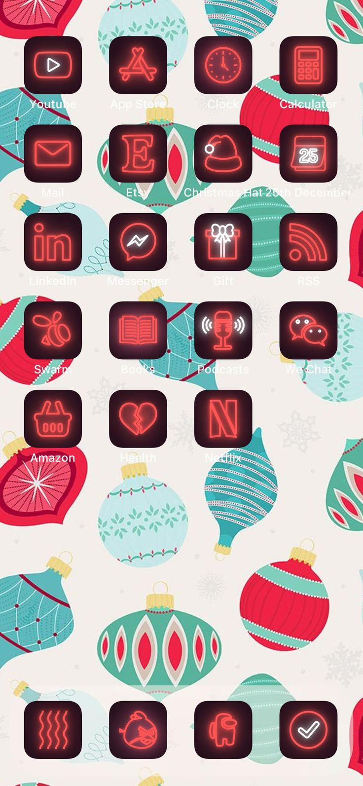 120+10 Red Neon iOS 14 App Icons Christmas Aesthetic for