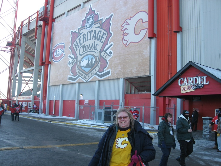 Outside McMahon Stadium in Calgary, Alberta just as I head in to see the Heritage Classic game between the Calgary Flames and Montreal Canadians February 2011 - a cold day but showing my Iginla Heritage Tee for the pic :)