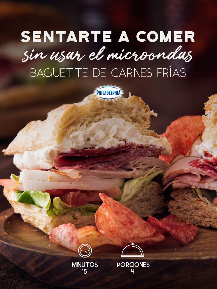 Mientras otros esperan en la fila tú disfruta de este rico Baguette a la hora de la comida.  #queso #quesocrema #Philadelphia #baguette #comida #carne #receta #faciles