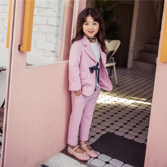 05f673fc3910 Girls Clothing Sets Girls 2 Pcs Jacket + Pants Suit Kids Girls Suit Autumn  Formal Sets Uniform Styles Elegant Pant Suits CC374