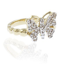 """""""Butterfly Kisses""""  $49.99 CAD -  This adorable ring is perfect as a pinky ring or for a little girl. It features a butterfly encrusted with tiny clear triple A cubic zirconias on a band finished in gleaming gold. Nickel and lead free. Size 5."""