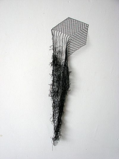 Elodie Antoine | Cube | Black lace thread and pins (2012).