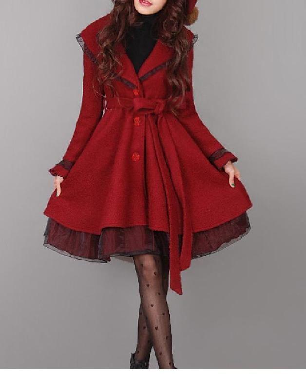 Long Coats – latern sleeve vintage style winter mantel rot yht – a unique product by Regenbogen-Fashion on DaWanda