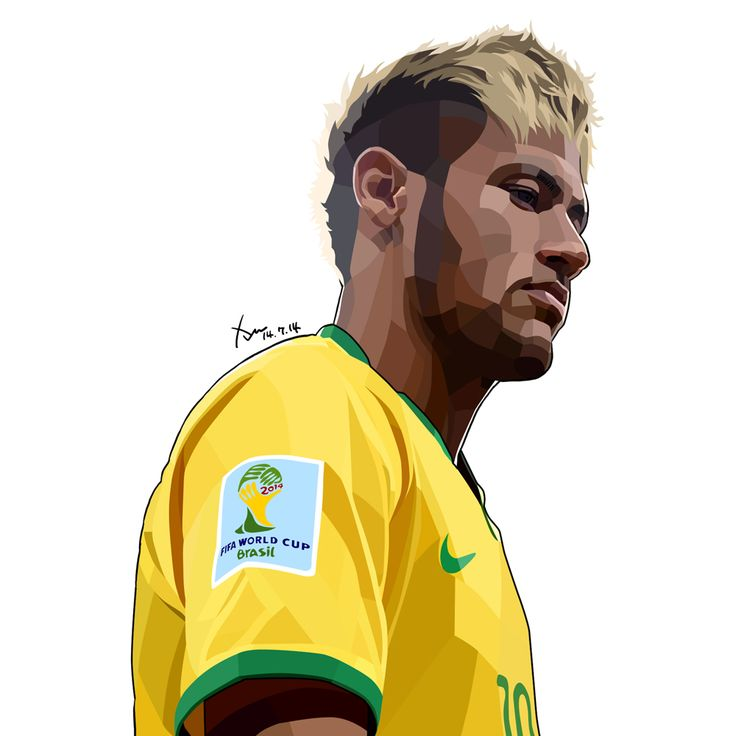 Neymar da Silva in 2014 Brazil Worldcup. Traced by Photoshop. 15cm X 15cm