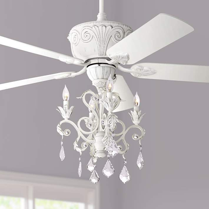 52 Casa Deville Rubbed White Chandelier Ceiling Fan 11h22 Lamps Plus Ceiling Fan Chandelier Ceiling Fan White Chandelier