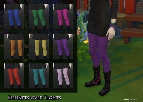 ameranthe:  Follower's GiftFishnets Over TightsThigh high fishnets over colorful tights.Lace TightsFancy lace tights in a variety of colors.Leopard Print BootsPunky leopard print boots in bold colors. Base game compatible.  /the fishnets are awesome!
