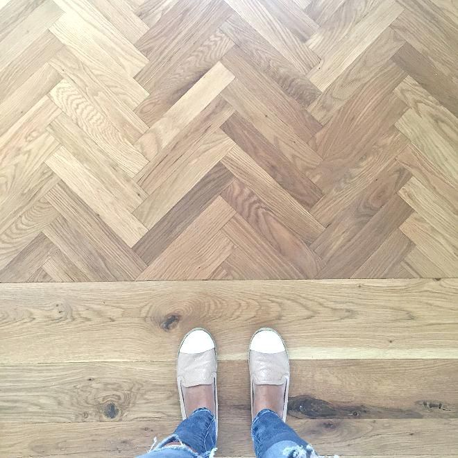 Pickled Oak Floor Herringbone White Oak Wood Floors Stained A Custom Blend Of Driftwood Herringbone Wood Floor White Oak Hardwood Floors Hardwood Floor Colors