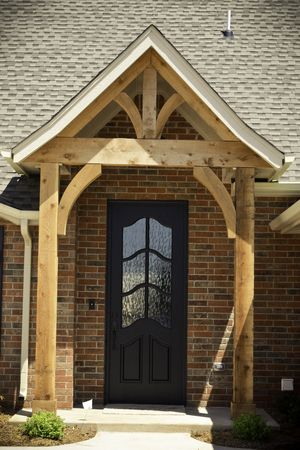 Black Front Door Natural Cedar Beams In 2019 Rustic