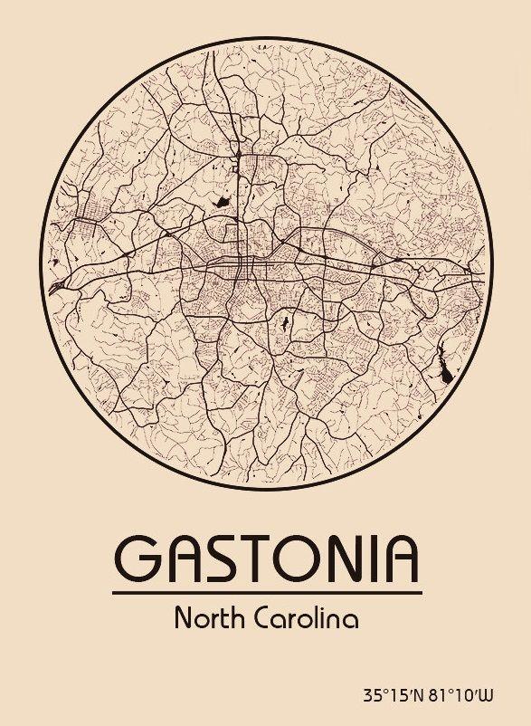 Karte / Map ~ Gastonia, North Carolina - Vereinigte Staaten von Amerika / United States of America / USA