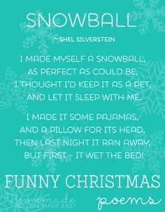 Collection of funny Christmas poems and song lyrics.                                                                                                                                                                                 More