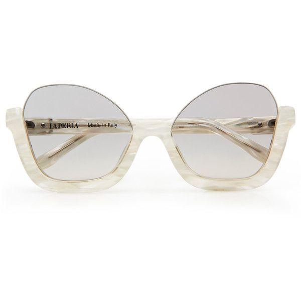 La Perla Sunglasses Balconcino Sunglasses ($384) ❤ liked on Polyvore featuring accessories, eyewear, sunglasses, white, white glasses and white sunglasses