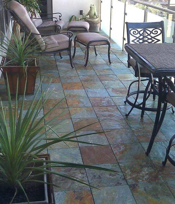 Elegant Slate Patios In Minutes With EzyTile Interlocking Slate Deck Tiles