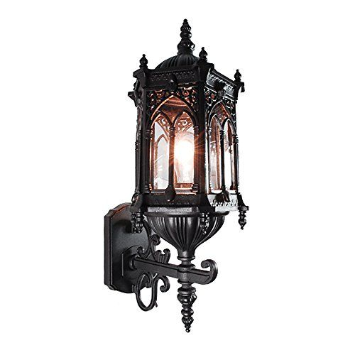 ETOPLIGHTING Rococo Collection Oil rubbed Matt Black Finish Exterior Outdoor Lantern Light Clear Glass, Wall APL1117