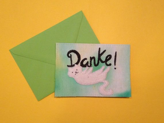 Thank you Cat embroidery card