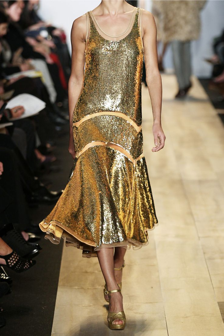 Michael Kors Sequined Midi Dress in Gold