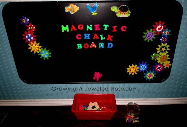 Magnetic Chalk Board - Turning our magnet board into a magnetic chalk board could not have been more simple.  We took the oil drip pan down from the wall and carried it outside.  Then we sprayed it with Chalk Board Spray Paint.