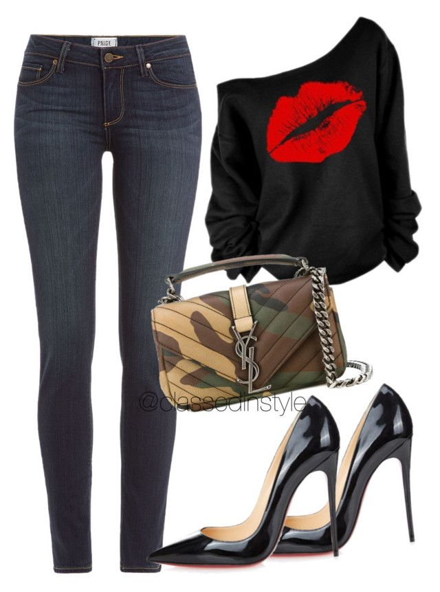 Untitled #212 by mama-liciuos on Polyvore featuring polyvore fashion style Paige Denim Christian Louboutin Yves Saint Laurent women's clothing women's fashion women female woman misses juniors