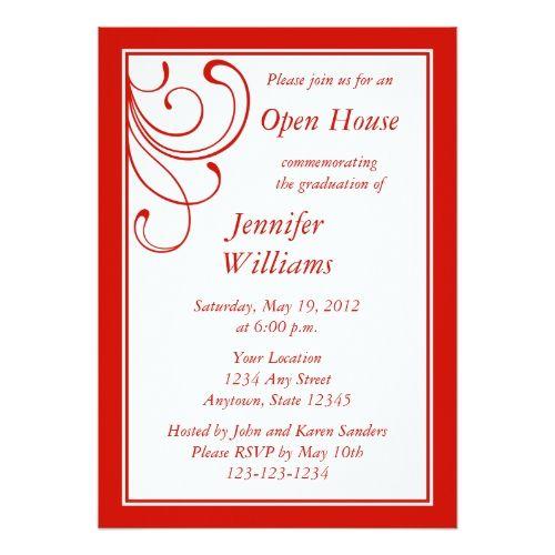21 best open house invitation wording images on pinterest custom red invitation elegant flourish stopboris Gallery