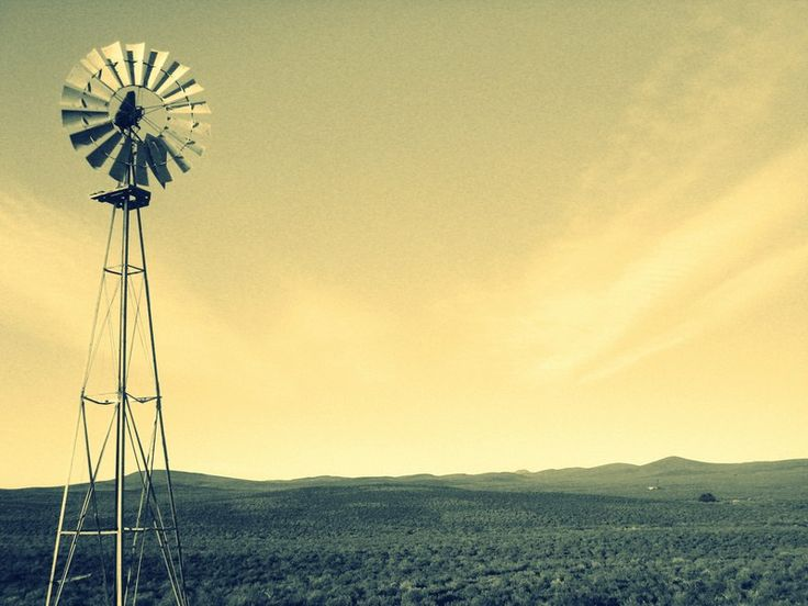 Stunning windmill in the heart of the Karoo Desert, South Africa