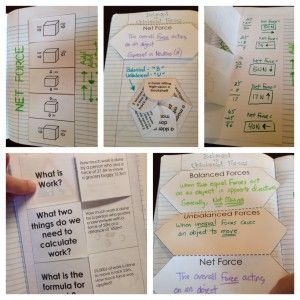 Force and Motion Interactive Notebook (INB) Templates - Balanced and Unbalanced Forces & Work Formula problems