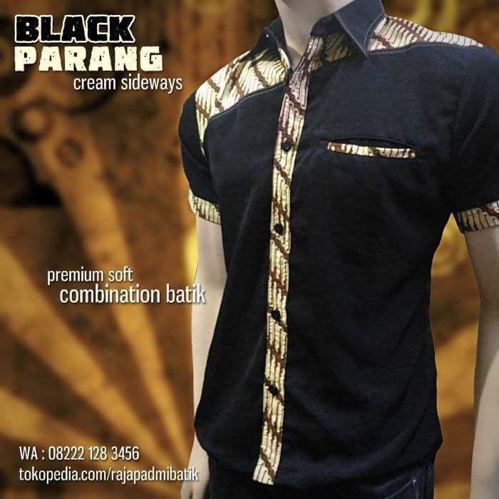 BATIK SERAGAM, Batik Pria, Baju Batik Modern, BLACK PARANG, Casual Batik Kombinasi