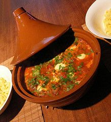 A Moroccan tagine can mean the cooker or the stew itself.