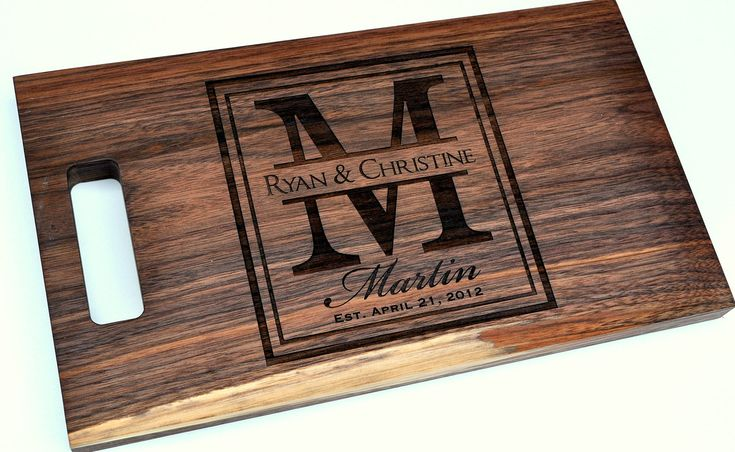 Cutting Board Personalized Cutting Board Laser Engraved Walnut 8x14 Wood Cutting Board. $34.00, via Etsy.