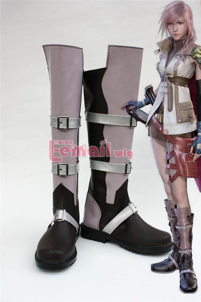 Final Fantasy XIII FF 13 Lightning Cosplay Shoes Boots Customized Any size SE236…