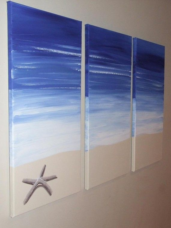 Blue Beach Starfish Seascape Canvas Painting by Artsolutely. I could do this!