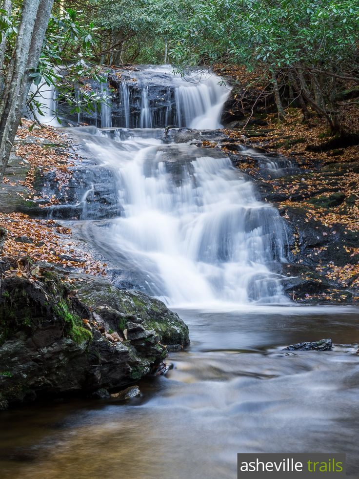 Hike the Big Laurel Falls Trail in the Nantahala National Forest to a beautiful, cascading waterfall near Franklin, NC