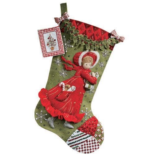 Holly Days Bucilla felt Applique Stocking Kit Large