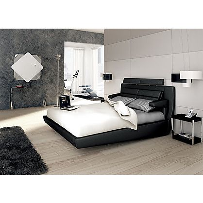 Letto Matrimoniale Roma Target Point con Giroletto in Ecopelle colore Nero