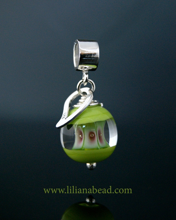 Green & Pink Apple Core Charm for Your Pandora, Biagi or Troll Collection