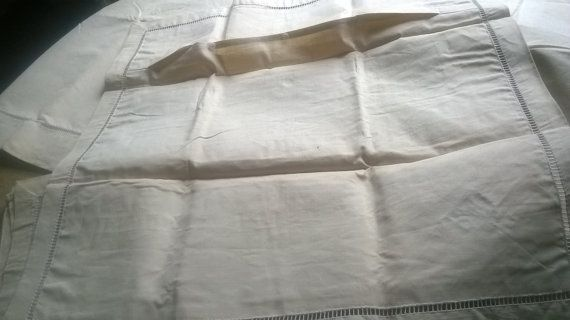 Gorgeous Art Deco French Linen Flat Sheet Blue Embroidered Monogram and 2 Matching pillow cases. Off White Linen fabric for a 2 persons bed.  Flat Sheet : 79 X 115 in. (201... #antiquelinen #victorian #frenchlinen #vintage #damask