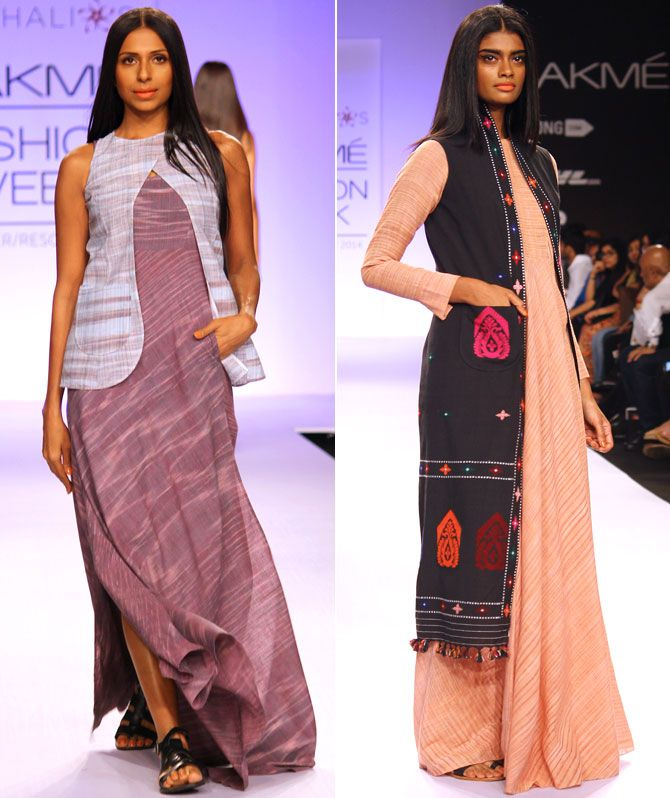 LIFW - Vaishali Shadangule's latest collection featured the khadi fabric created by Assamese women.