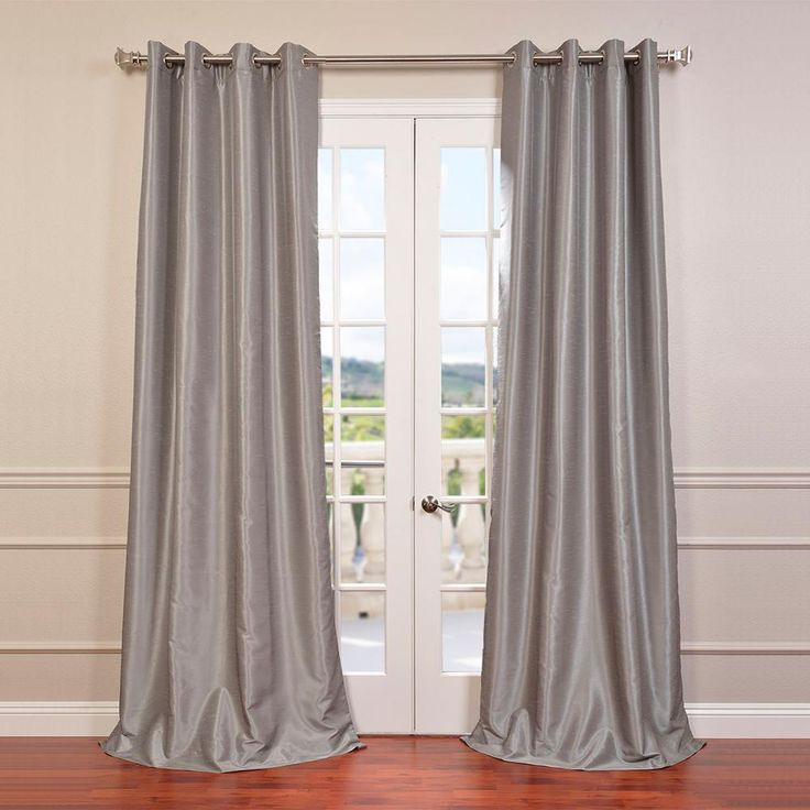 Exclusive Fabrics & Furnishings Silver Grommet Blackout Vintage Textured Faux Dupioni Silk Curtain – 50 in. W x 96 in. L