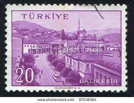 TURKEY - CIRCA 1959: stamp printed by Turkey, shows Turkish city, Balikesir, circa 1959. - stock photo