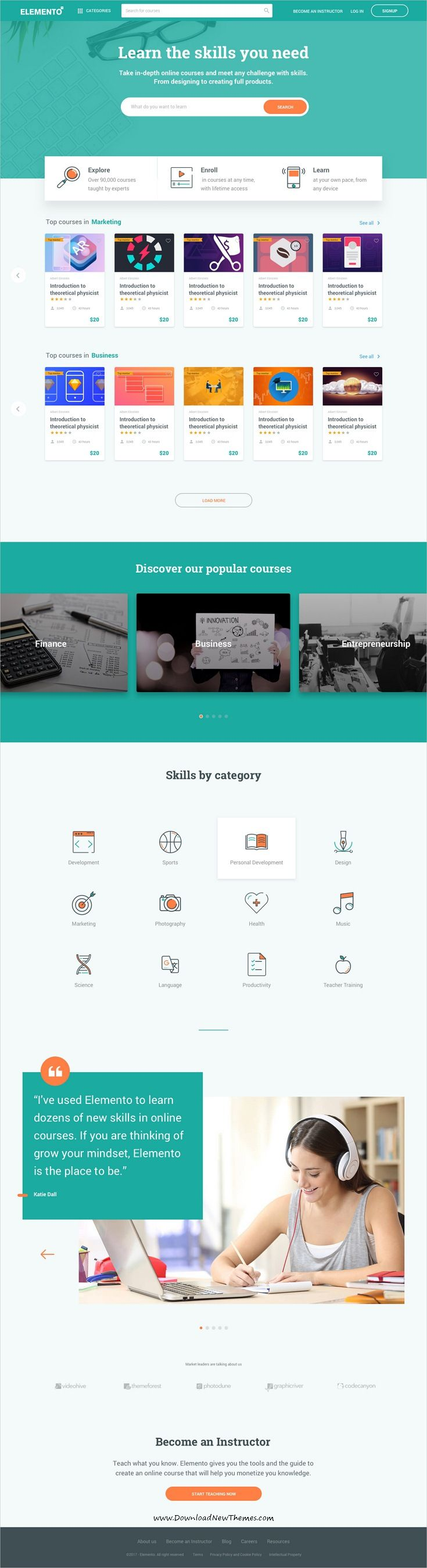 Elemento is clean and modern design sketch #template for multipurpose college, school and online #courses #education website to live preview & download click on Visit