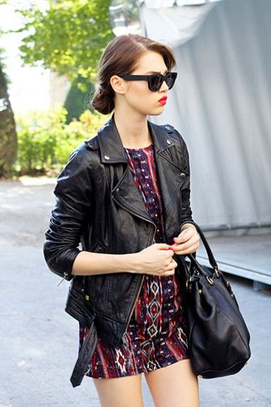 Edgy leather jacket + tribal dress---inspirations for monday batik day in my office