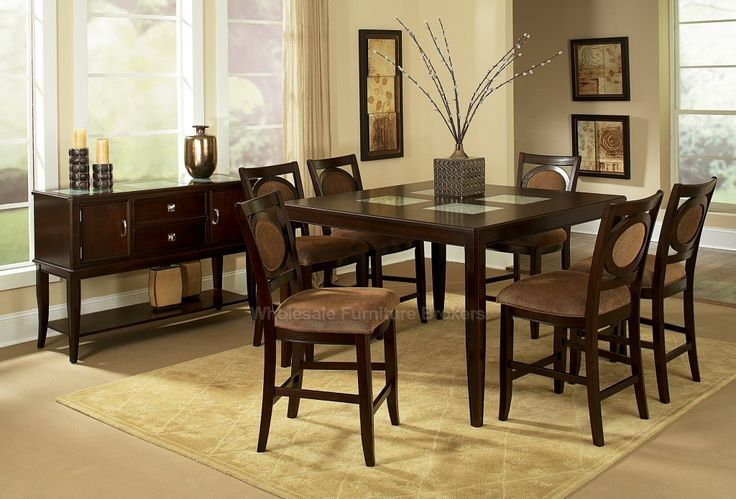 7 PC Montblanc Counter Height Table Set with Crackled Glass Inserts | Steve Silver at GoWFB.ca | Free Shipping