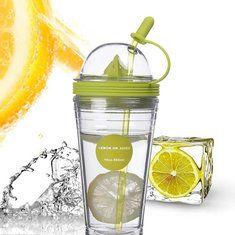 #Banggood Двойной слой изолировал лимонную бутылку соковыжималки чашки бутылки сока с соломой (1007176) #SuperDeals